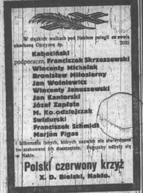 Polegi w walkach pod Nakłem nekrolog kabaciński Dziennik Poznański 1919.02.28