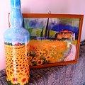 butelka-słonecznikowy zakątek #dekupage #dekupaż #butelka