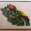 haft krzyżykowy, domek na łące #domki #HaftKrzyżykowy #obraz #obrazek #rękodzieło #RobótkiRęczne