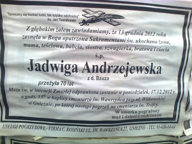 Klepsydra Jadwiga Andrzejewska d. Bauza