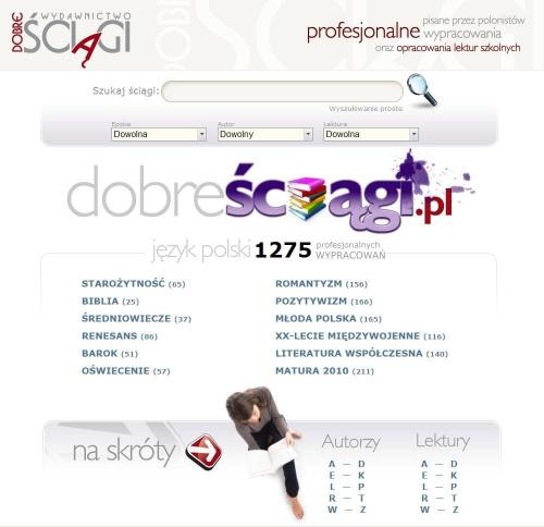 Dobre Ściągi - 1275 wypracowań - www.DobreSciagi.pl