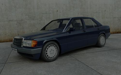 Mercedes W201 model 3D #Mercedes #W201 #model #render #grafika