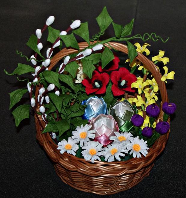 Wielkanocny koszyk #bibuła #dekoracje #hobby #KompozycjeKwiatowe #krepina #KwiatyZBibuły #MojePrace #pomysły #RobótkiRęczne